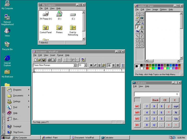 Interfejs graficzny Windows 95.