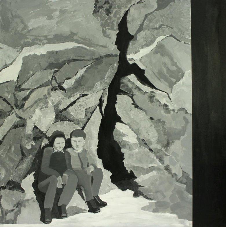 Marta Kiniewicz, Kraina szczęśliwości. Szczelina, 2016, akryl na płótnie, 150 x 150 cm