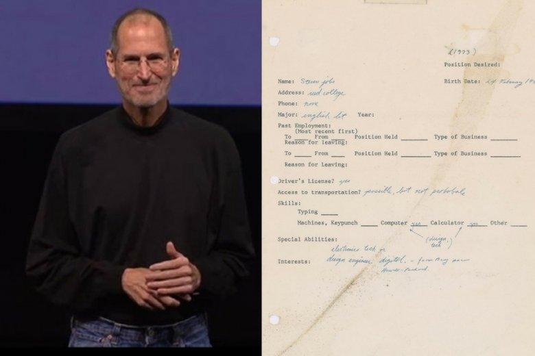 Steve Jobs i jego napisane w 1973 r. podanie o pracę.