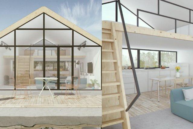 Wizualizacja domu z zewnątrz i wewnątrz.