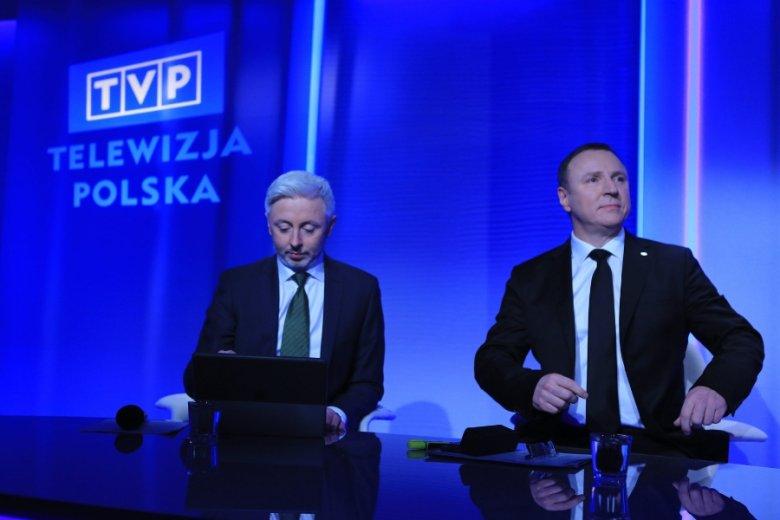 Szefowie TVP: wiceprezes Maciej Stanecki i prezes Jacek Kurski. Telewizja publiczna może przejąć pozostałości platformy Showmax w polskim internecie.
