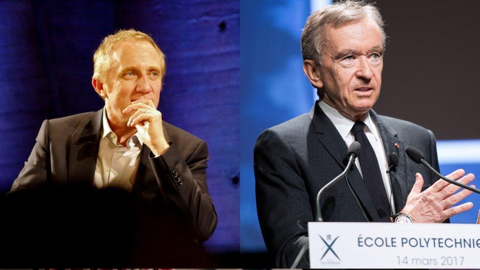 François-Henri Pinault, prezes grupy Kering oraz Bernard Arnault,  prezes grupy LVMH. Obaj zadeklarowali finansową pomoc w odbudowie spalonej katedry Notre-Dame w Paryżu.