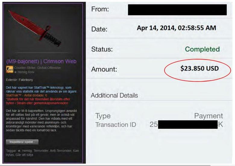 Zrzut ekranu z gry, z informacją ile zapłacono za sprzedaż jednego z elementów uzbrojenia.