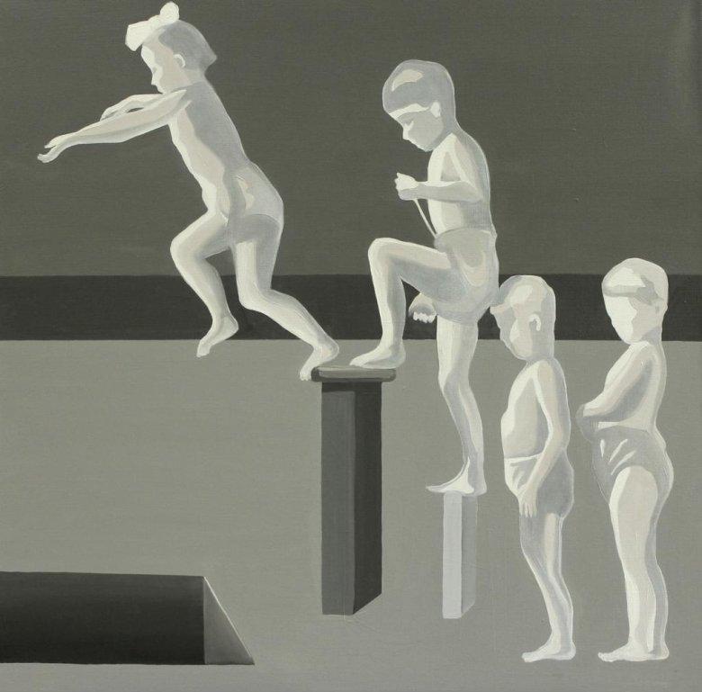 Marta Kiniewicz, Kraina szczęśliwości. Skok, 2015, olej na płótnie, 100x100 cm