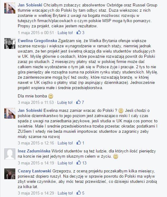 """Komentarze internautów w wydarzeniu """"Płatne praktyki wakacyjne dla polskich studentów z UK"""""""