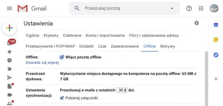 Żeby korzystać z Gmaila nie jest konieczne połączenie z siecią. Trzeba jednak pamiętać, żeby włączyć odpowiednią opcję w ustawieniach.