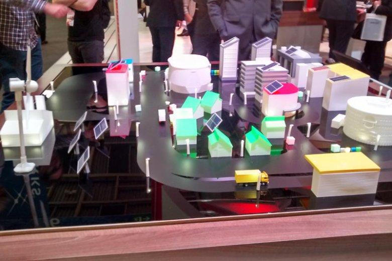 Makieta inteligentnego miasta na Mobile World Congress w Barcelonie.