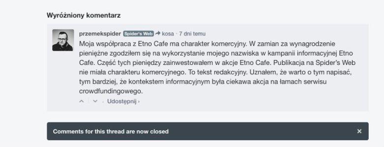 Komentarz uzupełniający Przemysława Pająka do tekstu o inwestowaniu w Etno Cafe