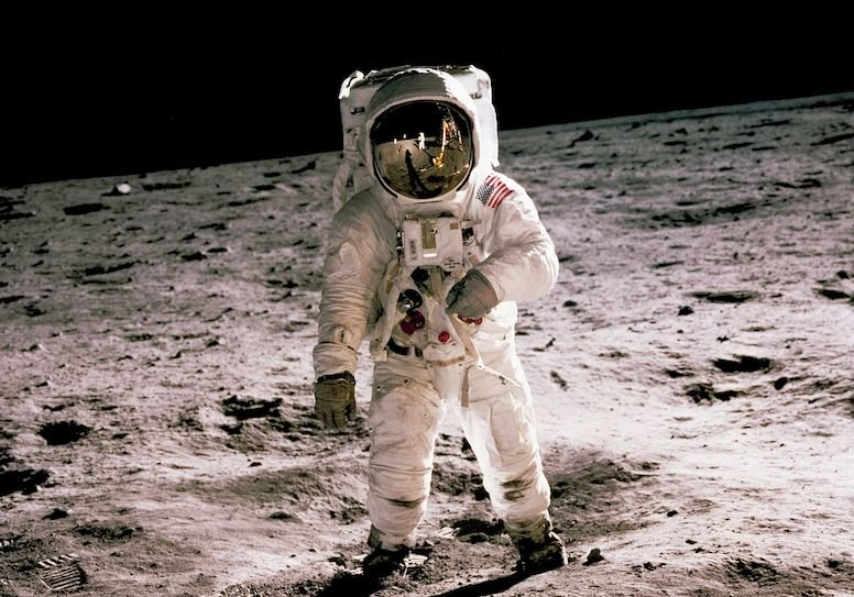 Apollo 11 astronaut Buzz Aldrin walks on the surface of the moon on July 21, 1969, in a photograph taken by Neil Armstrong.