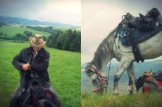 """Artur Gierula wypasa w Bieszczadach stado owiec, poza tym hoduje konie i bydło węgierskie. Prowadzi też rajdy konne i kieruje schroniskiem turystycznym """"nad Smolnikiem"""""""