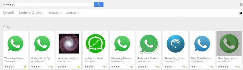 Przykłady aplikacji podszywających się pod komunikator WhatsApp