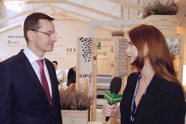 Wicepremier Mateusz Morawiecki przepytywany przez redaktor naczelną INN:Poland, Nino Dżikiję.