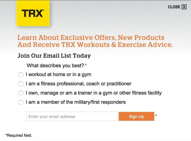 Formularz zapisu marki TRX, umożliwiający podział bazy odbiorców na segmenty