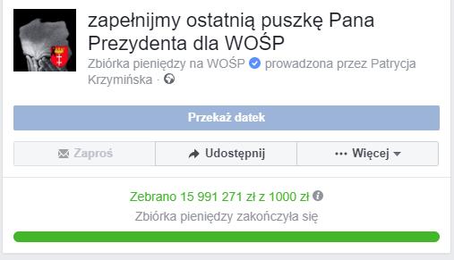 Zbiórka pozwoliła zebrać blisko 16 mln złotych