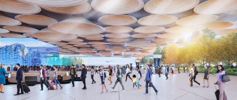 Wnętrze lotniska zaproponowane przez Woods Bagot ma nawiązywać do natury.