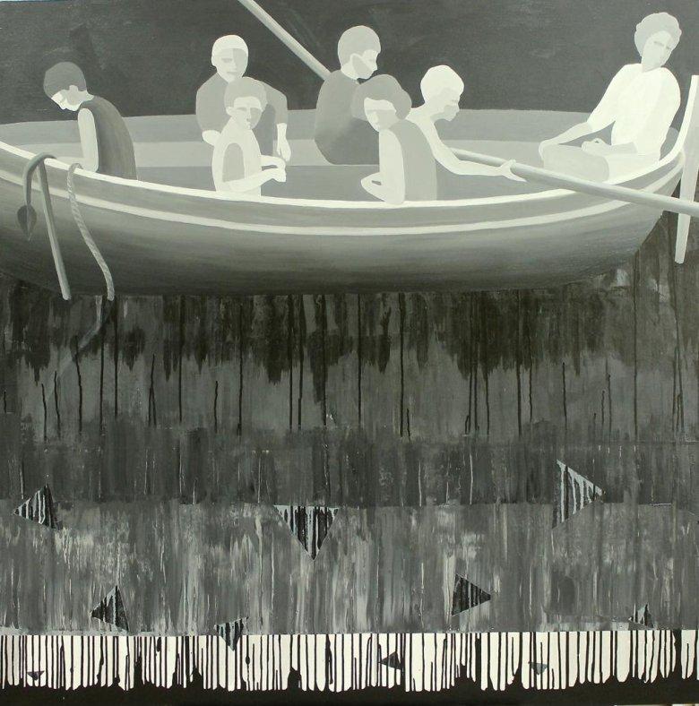 Marta Kiniewicz, Kraina szczęśliwości. Łódka, 2016, akryl na płótnie, 150 x 150 cm