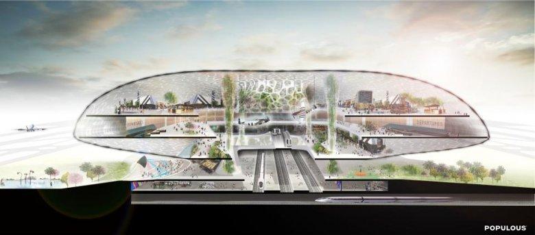 """Propozycja Populous koncepcja tzw. airport city, czyli """"lotnisko – miasto""""."""
