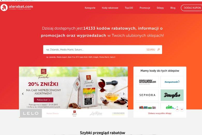 Wyszukiwarka kodów rabatowych taka jak AleRabat.com pomaga korzystać z atrakcyjnych promocji oferowanych przez wiele sklepów internetowych