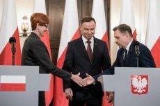 Minister pracy Elżbieta Rafalska, prezydent Andrzej Duda i szef Solidarności, Piotr Duda.