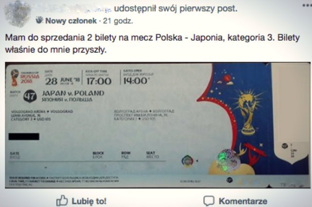 Jedna z ofert sprzedaży biletu - dane zostały zamazane