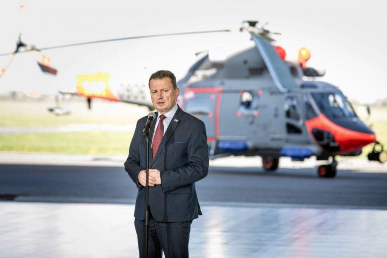 Minister Błaszczak podczas konferencji dotyczącej zakupu śmigłowców AW 101
