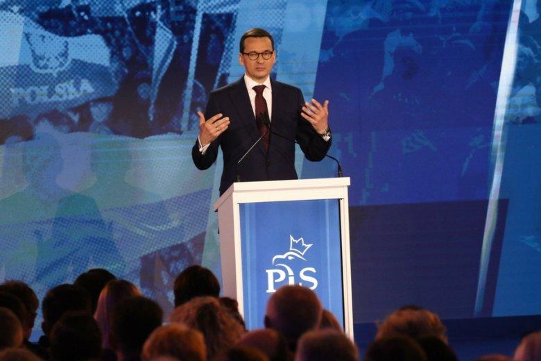 Premier Mateusz Morawiecki podczas sobotniej konwencji PiS.