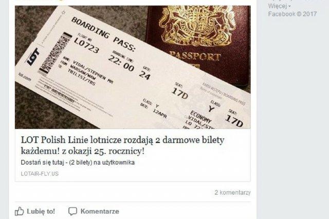 Tak wygląda scam, kuszący darmowymi biletami lotniczymi PLL LOT.