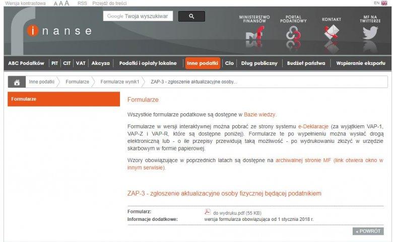 Portal Podatkowy Ministerstwa Finansów.