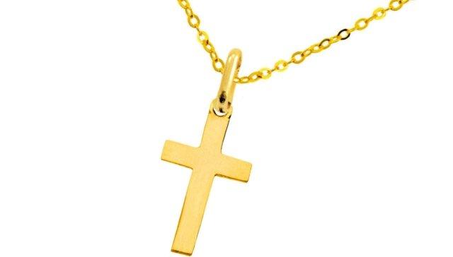 Złoty łańcuszek z krzyżykiem. Cena: min. 200 - 300 zł