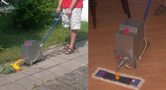 Pierwsza wersja urządzenia Bucior do opryskiwania roślin i czyszczenia podłóg
