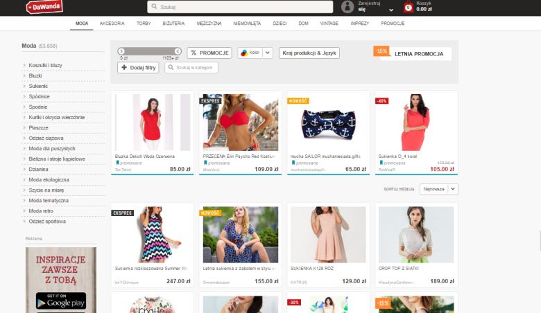 Przykłady ofert w zakładce Moda na stronie DaWanda.pl