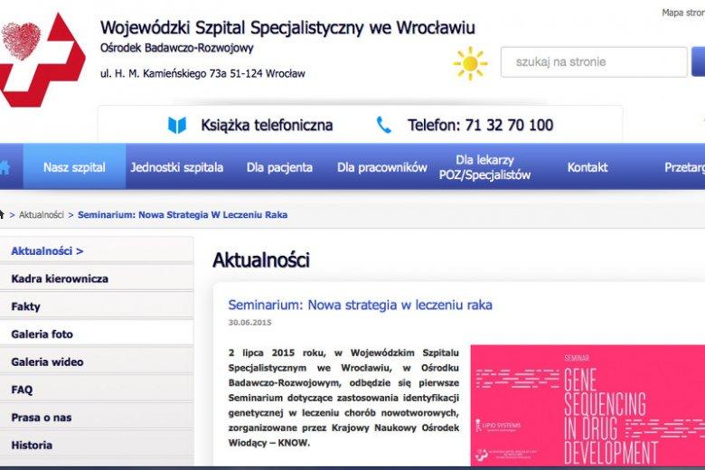Wojewódzki Szpital Specjalistyczny we Wrocławiu ma już pierwsze osiągnięcia na polu leczenia spersonalizowanego u pacjentek z nowotworem