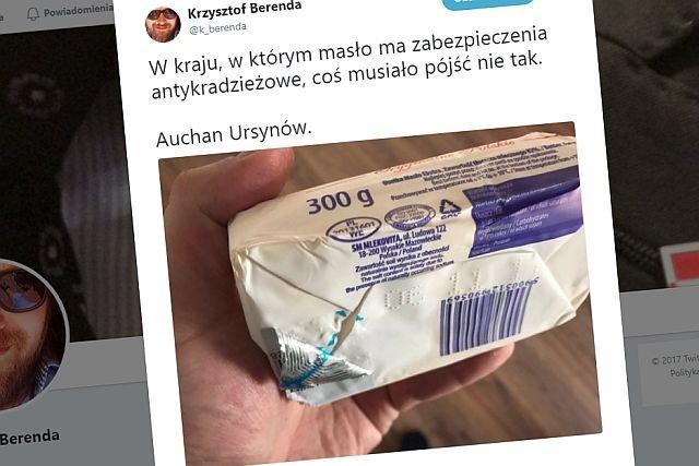 Dziennikarz radia RMF FM, Krzysztof Berenda opublikował na Twitterze zdjęcie kostki masła w sklepie Auchan. Jego zdaniem może być w ten sposób zabezpieczone przed kradzieżą.