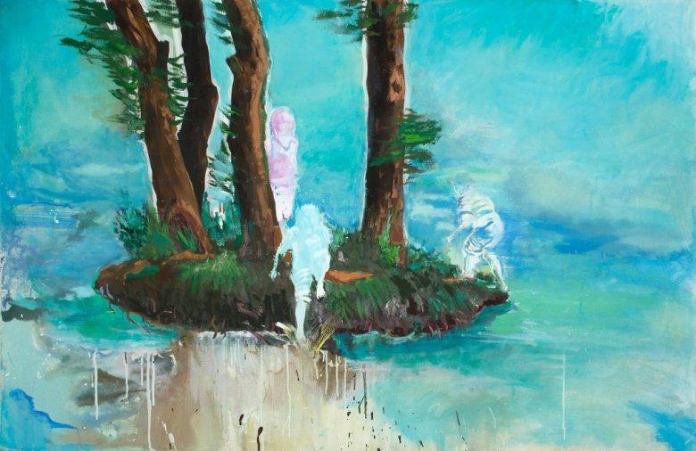 """Agnieszka Strojna, """"Wyspa"""", 90x140, gwasz, akryl, tempera, 2017"""
