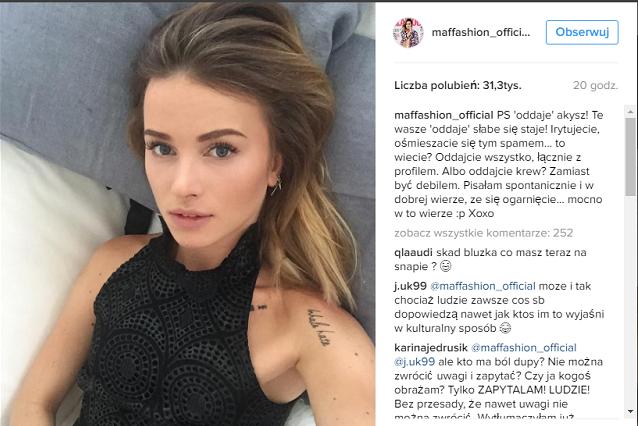 Maffashion, polska blogerka modowa, ma ponad 750 tys. obserwujących na serwisie Instagram.
