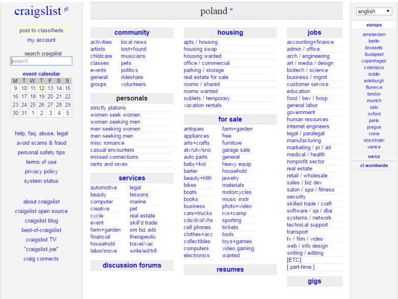 Według portalu SimilarWeb, Craigslist jest 10 napopualarniejszym portalem w Stanach. Jego design nie zmienił się od ponad dwóch dekad.