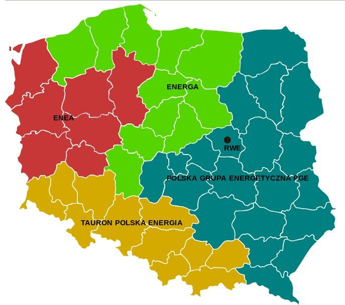 Polska podzielona jest pomiędzy cztery duże spółki energetyczne.