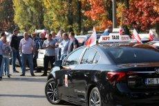 Czwartkowy protest taksówkarzy przeciwko aplikacjom przewozowym.
