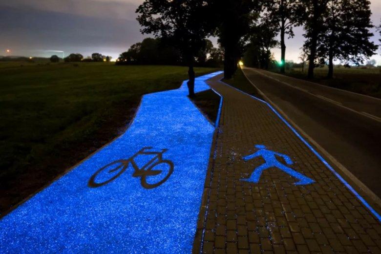 Fluoroscencyjna ścieżka rowerowa w Lidzbarku Warmińskim.