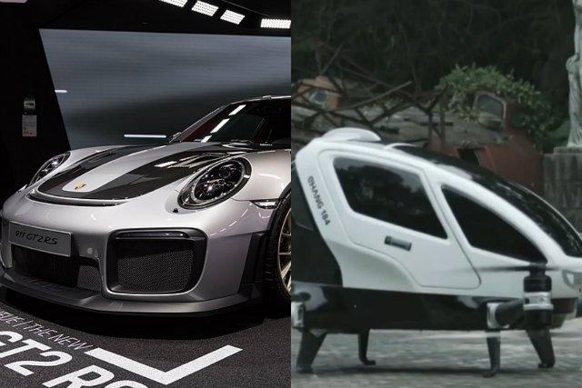 Inżynierowie Porsche intensywnie pracują nad stworzeniem pasażerskiego drona. Po prawej stronie przykładowy prototypów takiej maszyny