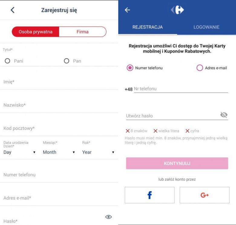Rejestracja w aplikacji Carrefour i Auchan