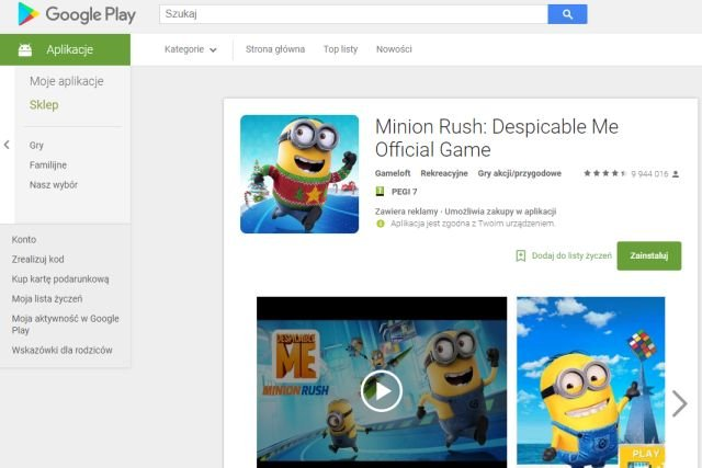 """Przycisk """"Zainstaluj"""" na stronie internetowej sklepu Google Play spowoduje, że aplikacja zostanie ściągnięta i zainstalowana na naszym smartfonie"""