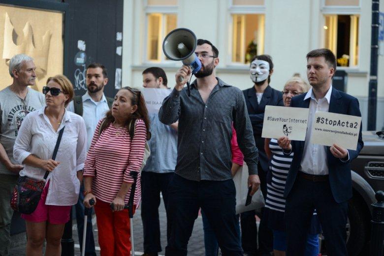 Protest przeciwko ACTA2, zorganizowany w dniu finalnego głosowania w Parlamencie Europejskim.