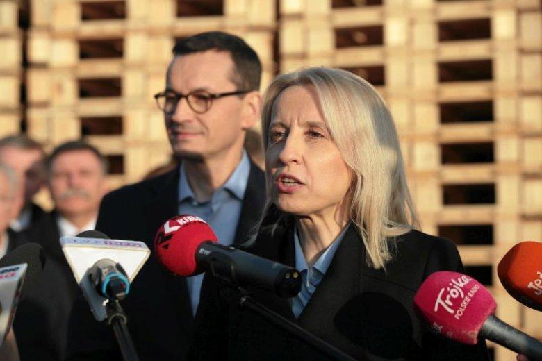 Teresa Czerwińska i Mateusz Morawiecki na konferencji prasowej.