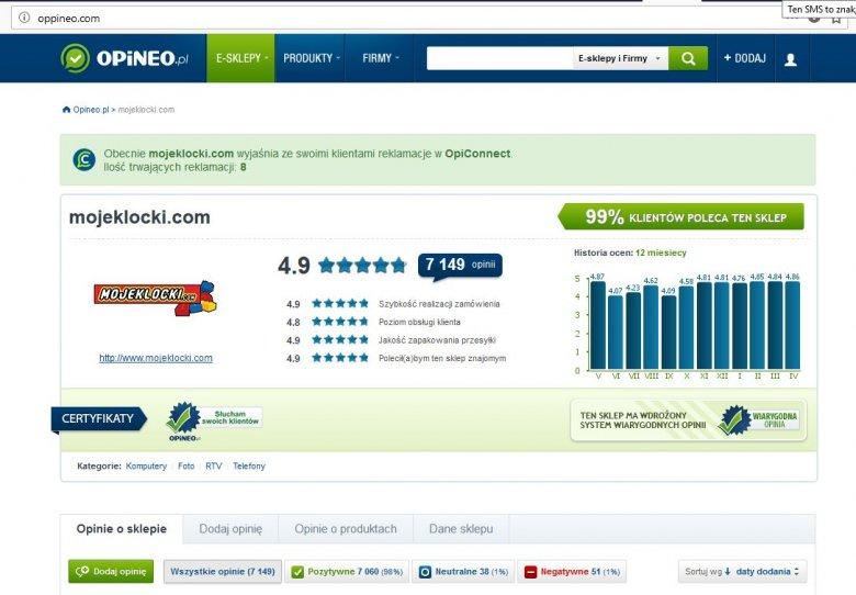 Szukając opinii o sklepie MojeKlocki.com możemy trafić na fałszywą stronę serwisu Opineo.