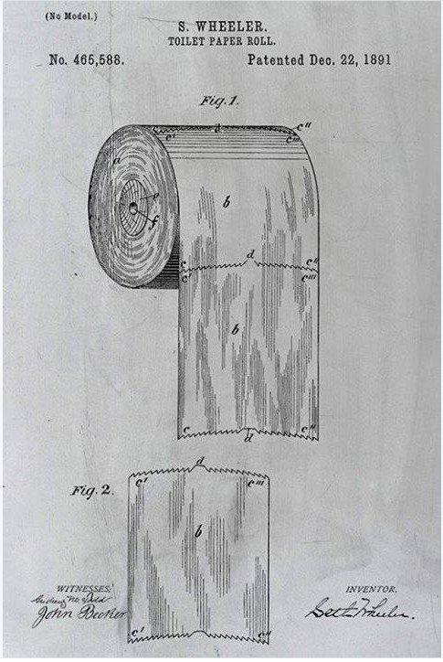 Dokumentacja zgłoszeniowa na perforowany papier toaletowy zawiera obrazek ilustrujący, w jaki sposób należy zawiesić go na rolce