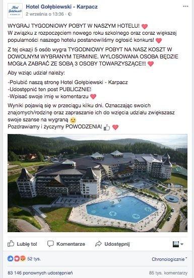 Fałszywy konkurs Hotelu Gołębiewski zrobił zaskakującą karierę