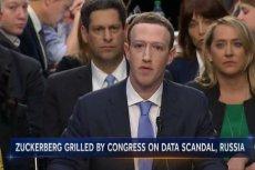 Mark Zuckerberg podczas przesłuchania na Kapitolu.