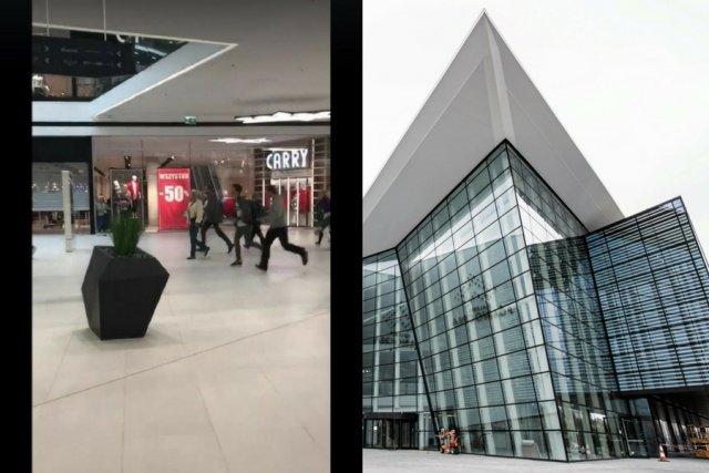 Pierwsi klienci wbiegają do Galerii Północnej w Warszawie.