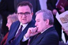 Prezes Banku Pekao Michał Kurpiński i wicepremier Piotr Gliński.